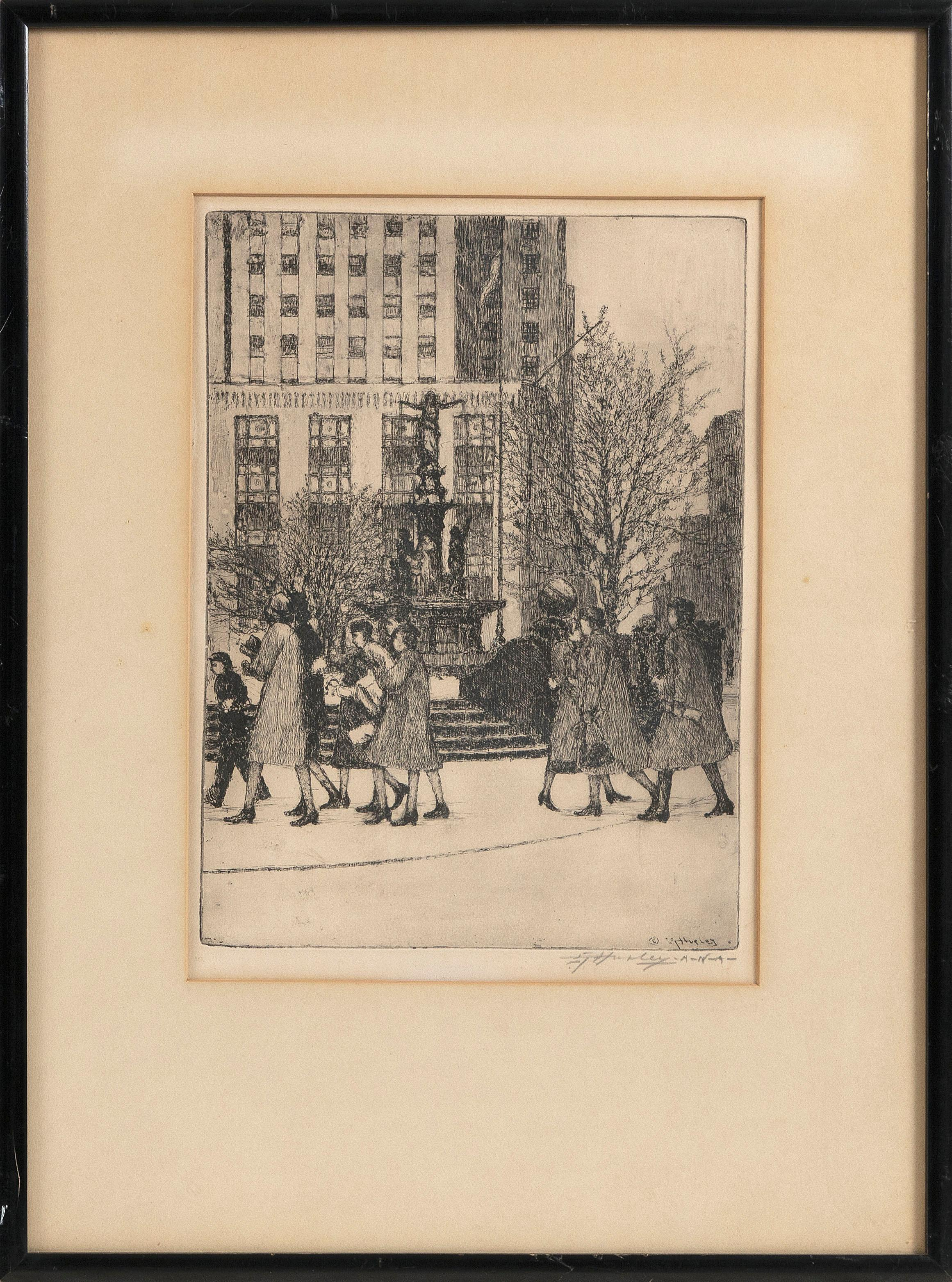 """EDWARD T. HURLEY (Ohio, 1869-1950), """"Fountain Square, Cincinnati""""., Dry point etching, 8.75"""" x 11.75"""" to the plate line. Framed 20.75"""" x 15.75""""."""