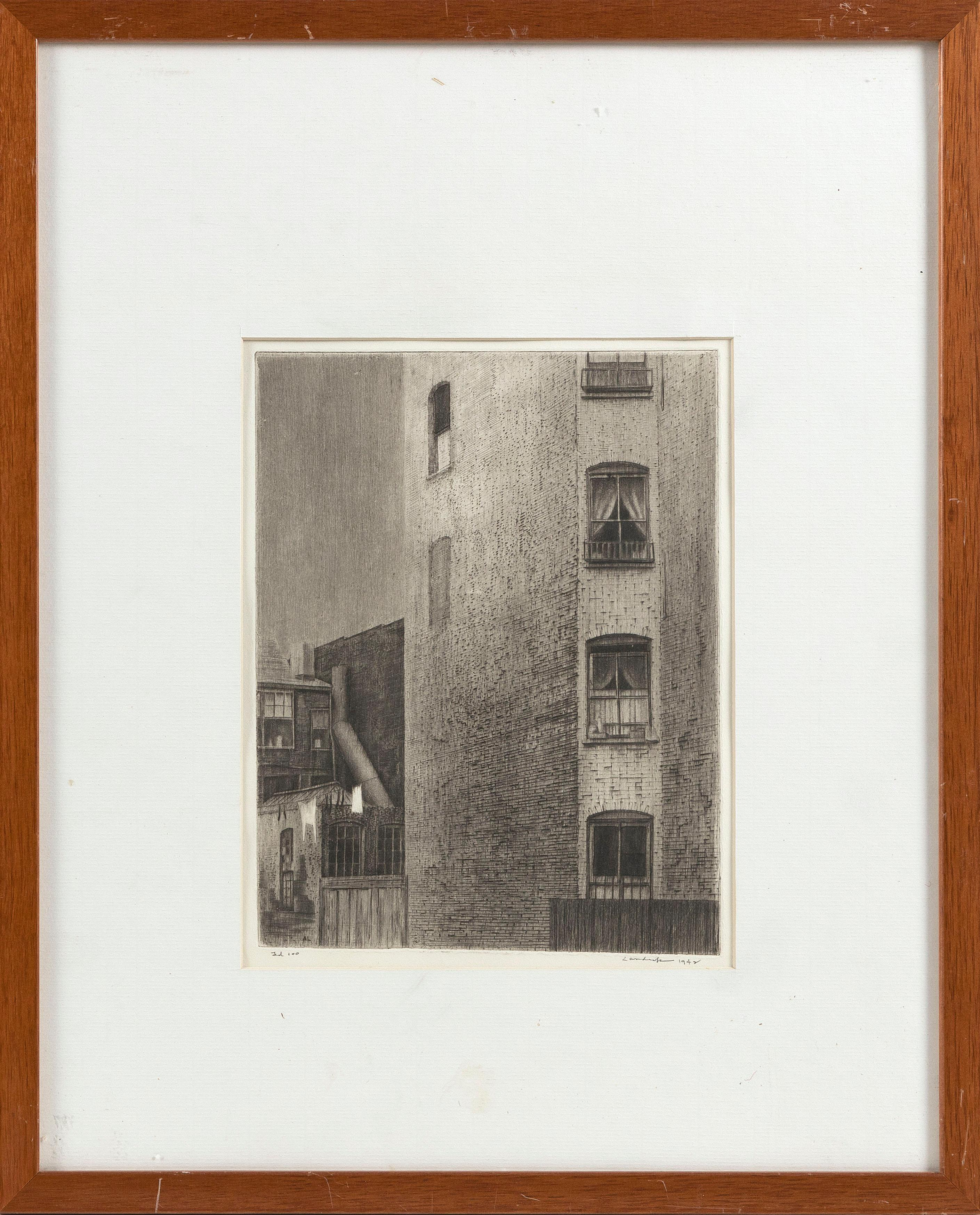 """ARMIN LANDECK (New York/Connecticut/Wisconsin, 1905-1984), """"Tenement Walls""""., Dry point etching, 8"""" x 10.5"""" to the plate line. Framed 21"""" x 17""""."""