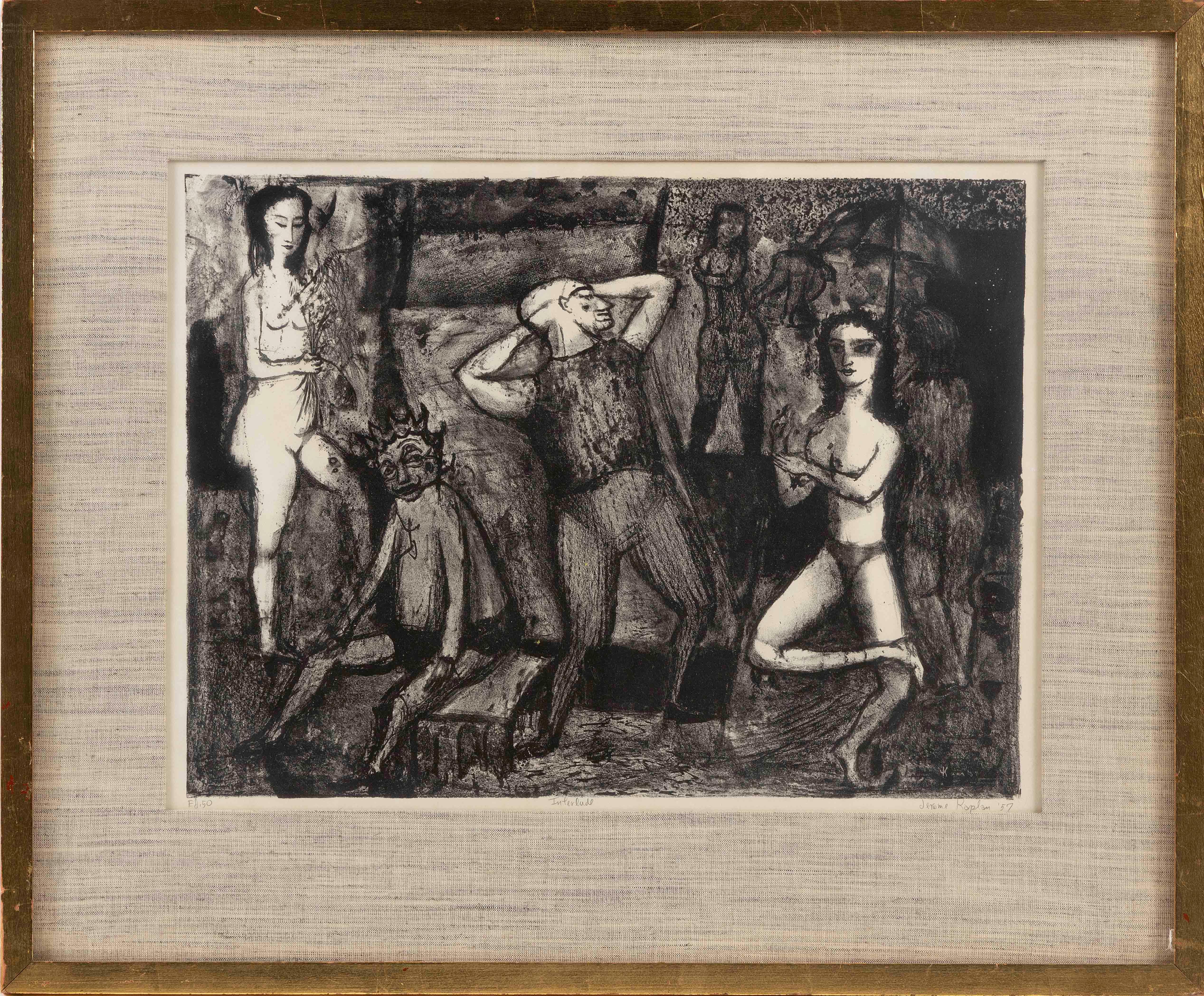 """JEROME EUGENE KAPLAN (Pennsylvania, b. 1920), Dance scene., Lithograph on paper, 14.5"""" x 19.5"""" sight. Framed 22.5"""" x 26.5""""."""