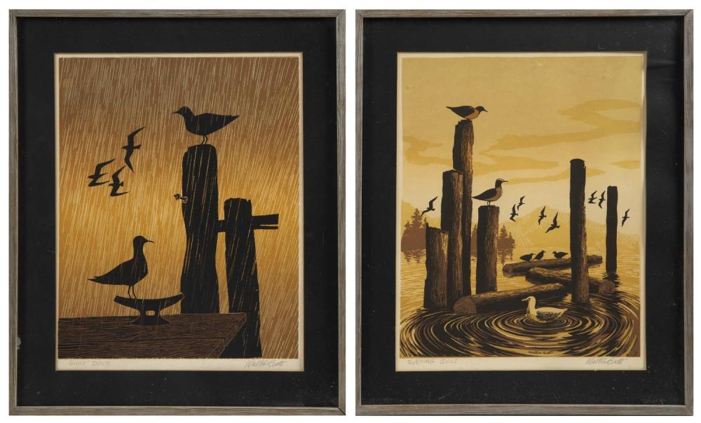 """WALTER BUTTS (Northwest America, d. 1996), Two serigraphs: """"Evening Gulls"""" and """"Gulls' Dock""""., 14.5"""" x 11.25"""" sight. Framed 18.875"""" x 15.75""""."""