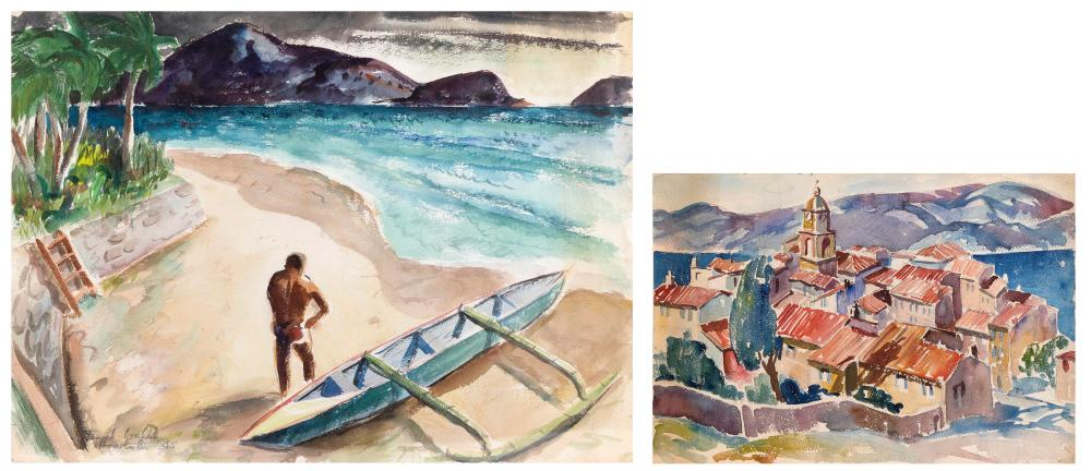TWO WATERCOLORS Mid-20th Century