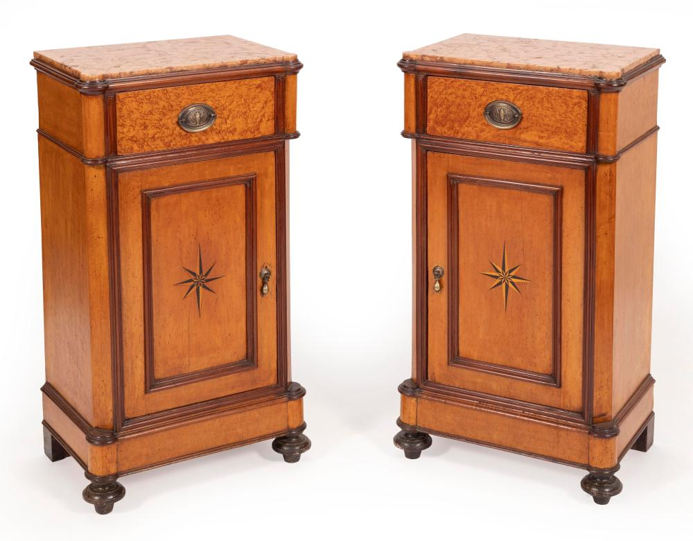 """PAIR OF VICTORIAN MARBLE-TOP CABINETS Late 19th Century Heights 38"""". Widths 19"""". Depths 13.5""""."""