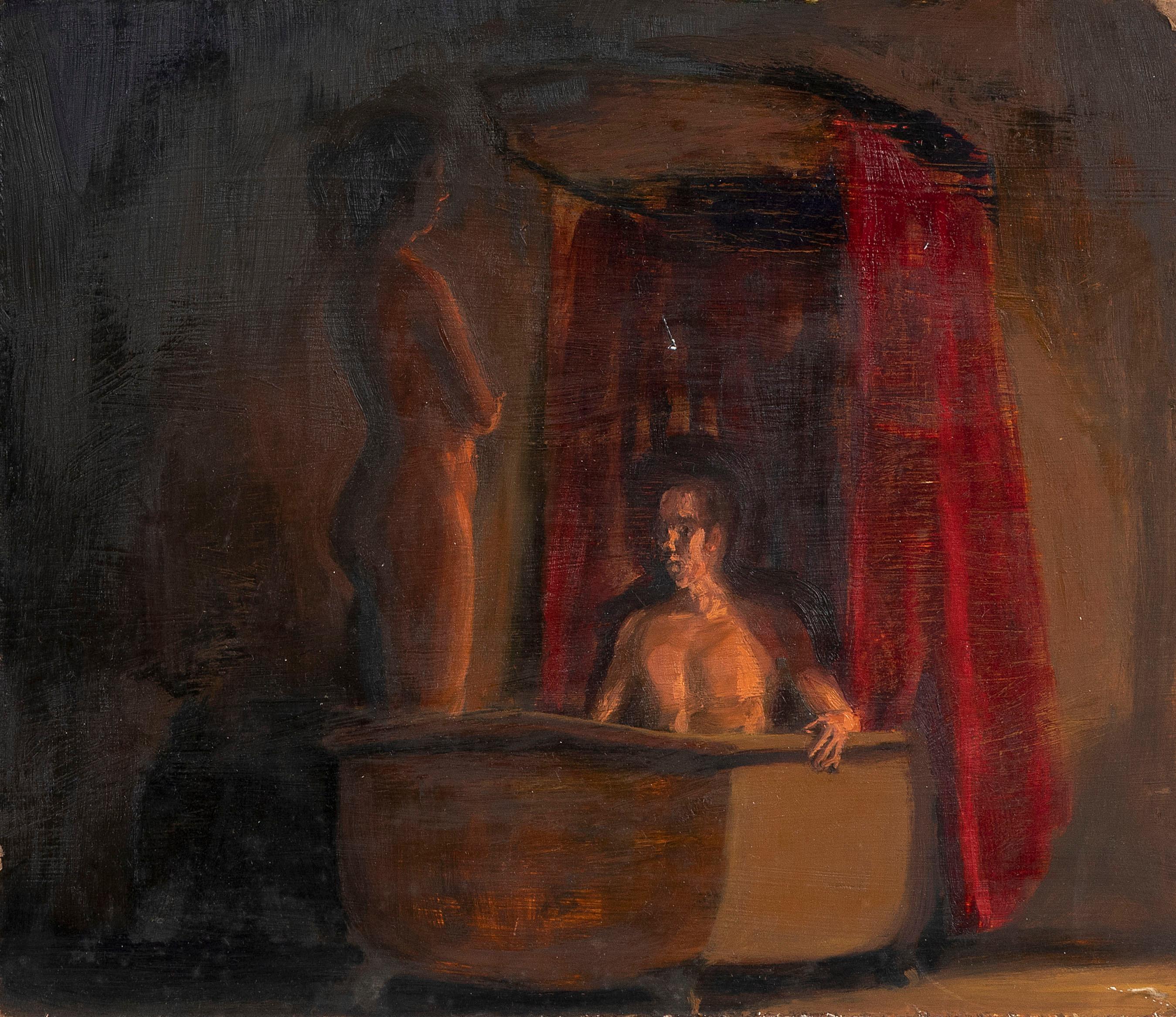 "STEFAN HALVORSEN (Wyoming/Illinois, 1946-2003), ""The Dream Tub""., Oil on masonite, 10"" x 12"". Unframed."