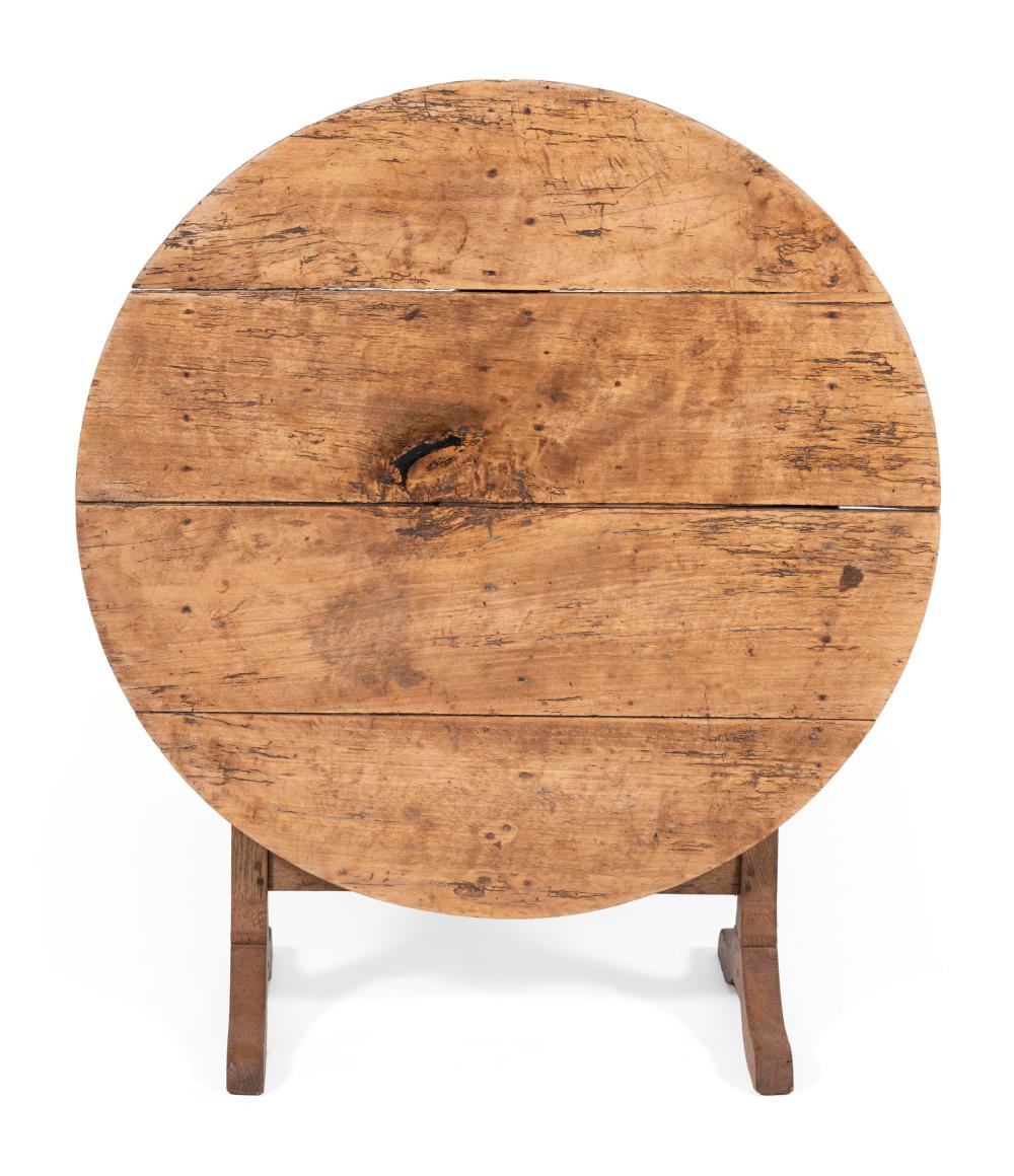 """FRENCH TILT-TOP WINE TABLE Early 20th Century Height 27.25"""". Diameter 38""""."""
