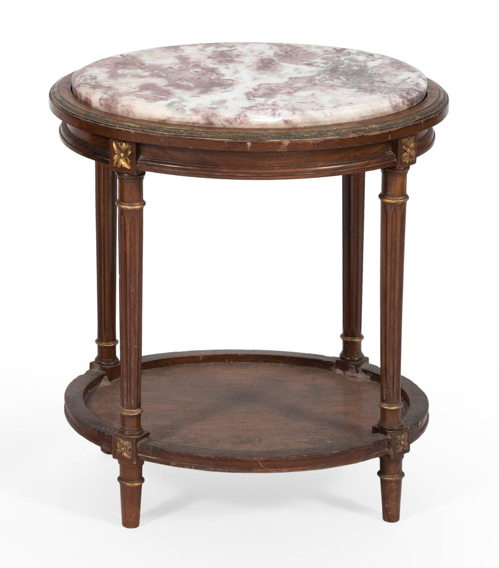 """MARBLE-TOP STAND 20th Century Height 23.25"""". Top 17"""" x 20""""."""
