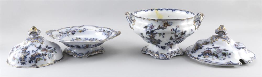 TWO IMPERIAL STONE IMARI PALETTE IRONSTONE COVERED TUREENS England, Late 19th Century Soup tureen height 12