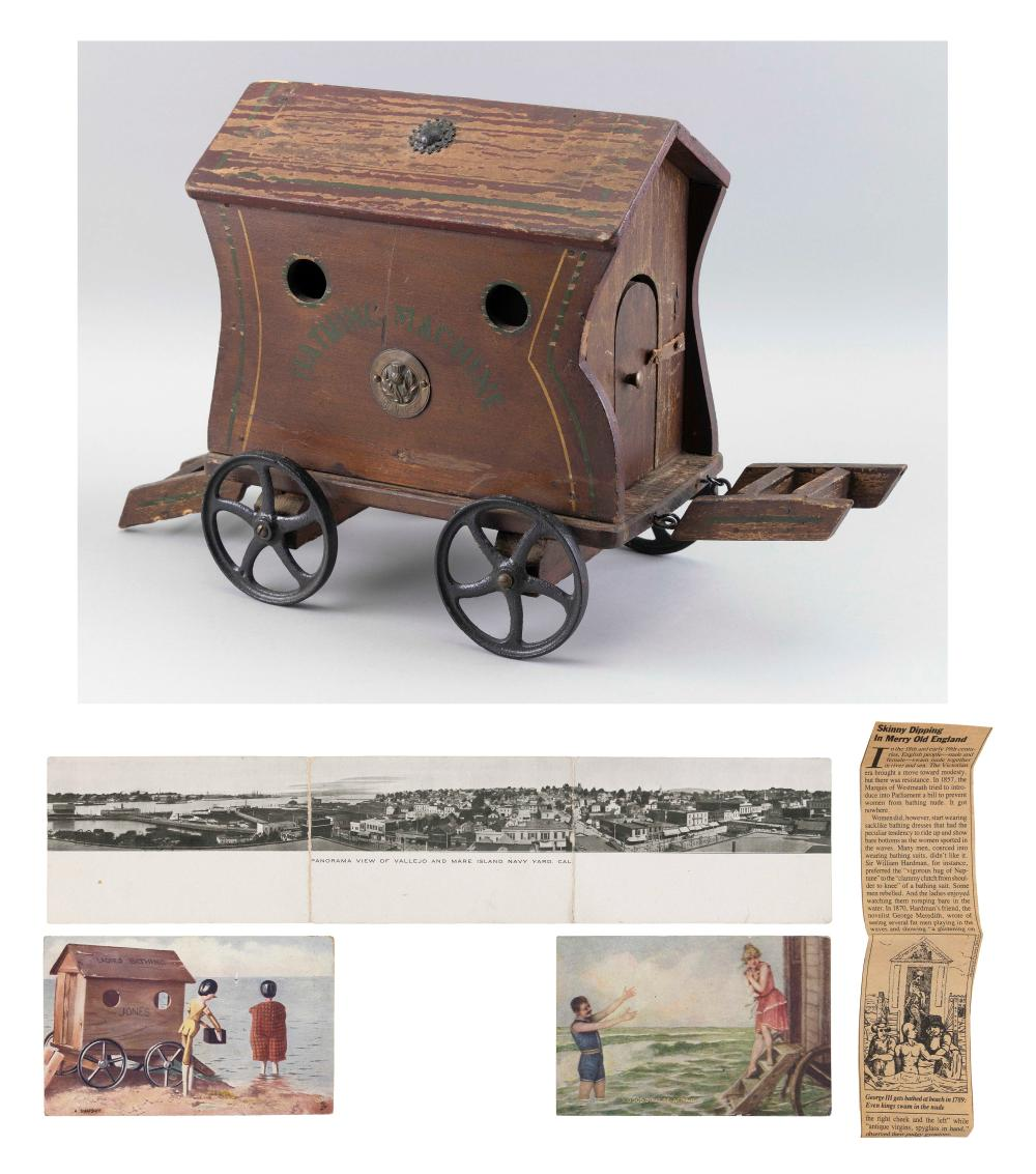 """MINIATURE BATHING WAGON Early 20th Century Height 12"""". Total length 19.5""""."""