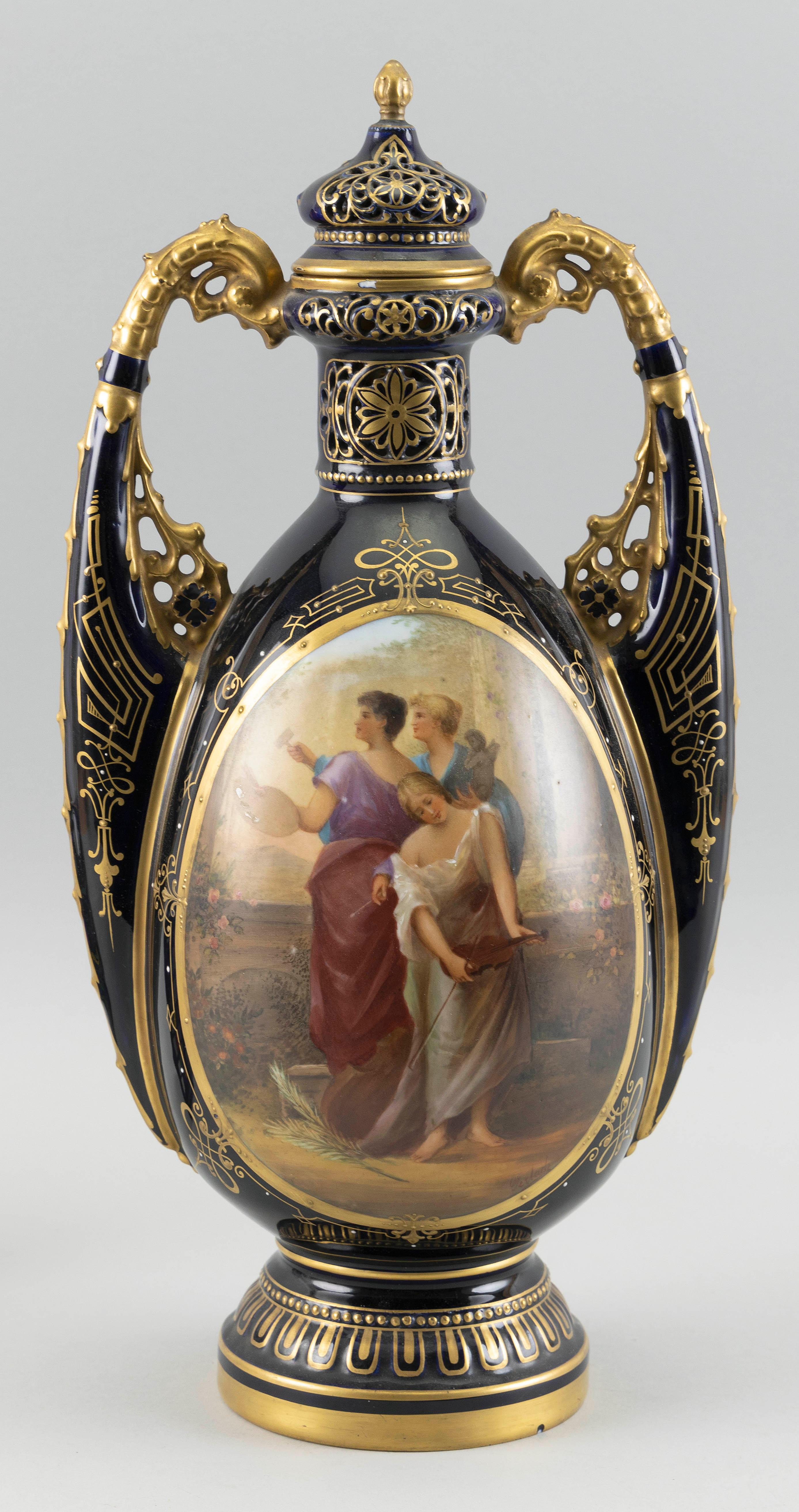 """ROYAL VIENNA-STYLE HAND-PAINTED PORCELAIN COVERED URN Late 19th Century Height 15.75""""."""