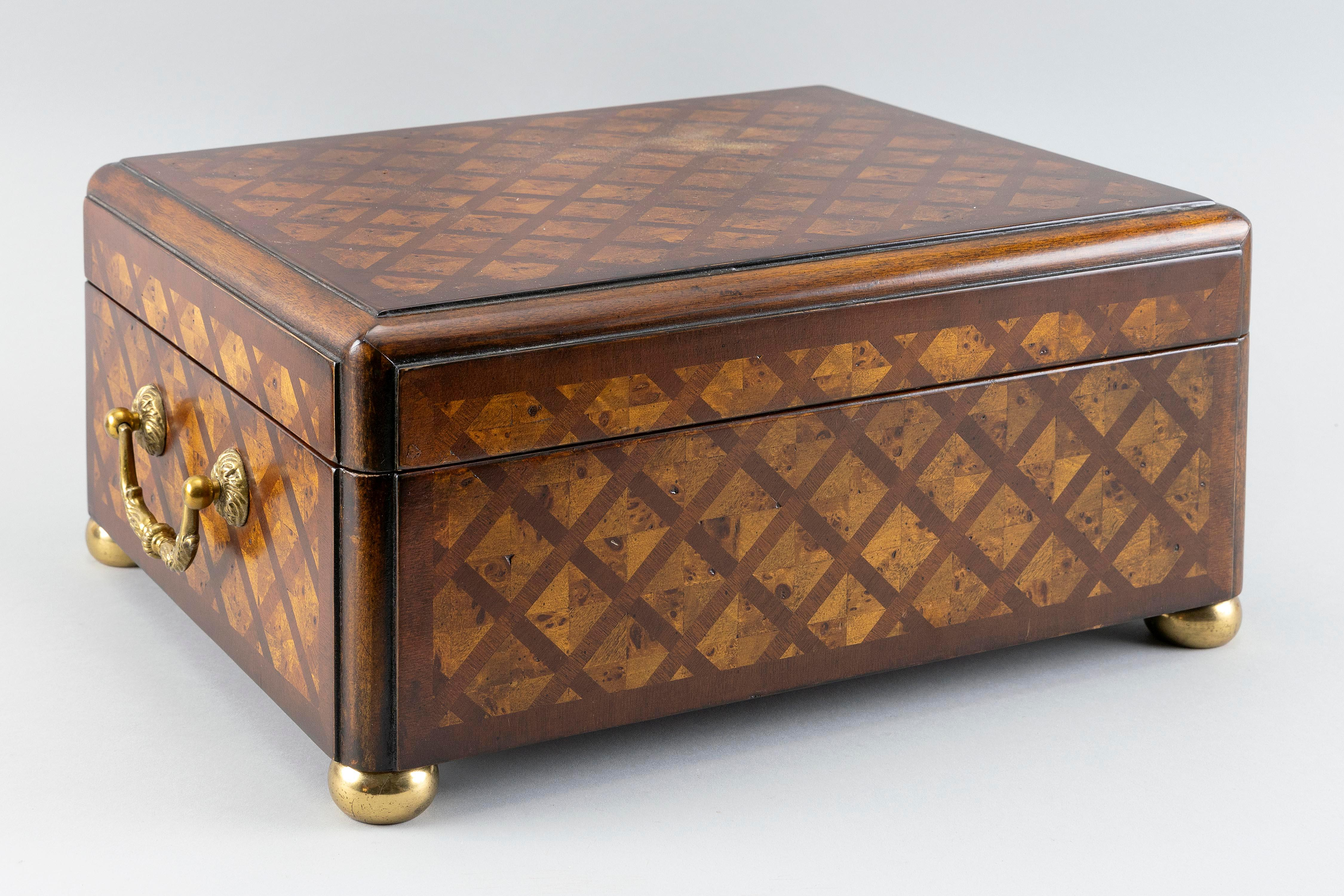 """PARQUETRY BOX Contemporary Height 7"""". Width 15"""". Depth 12""""."""