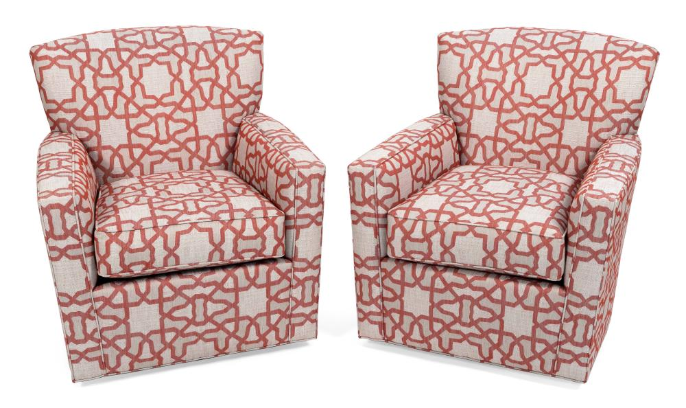 """PAIR OF ETHAN ALLEN UPHOLSTERED SWIVEL ARMCHAIRS Contemporary Back heights 35"""". Seat heights 20""""."""