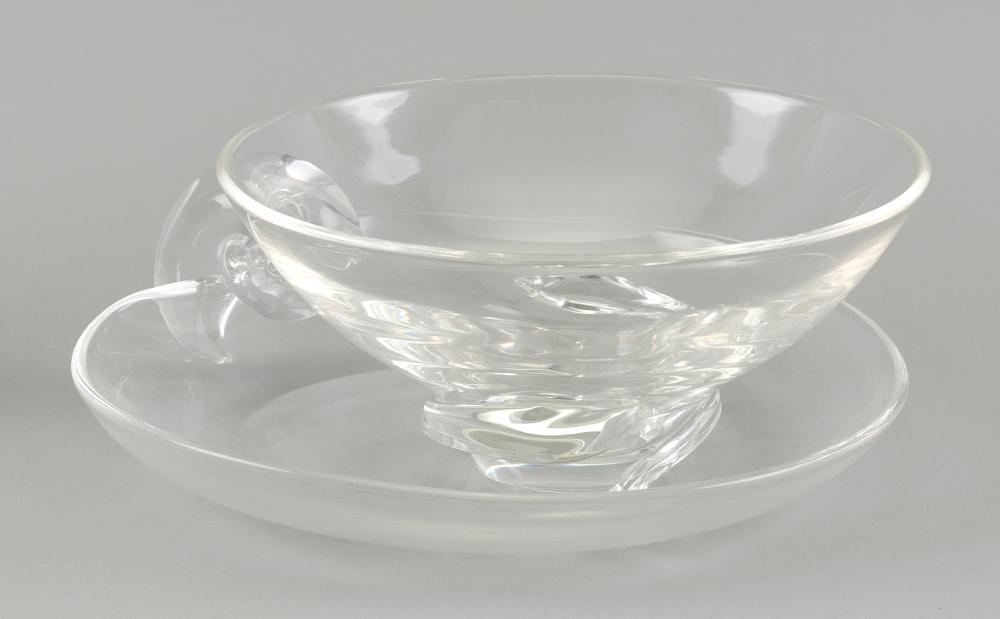 """STEUBEN GLASS BOWL AND A GLASS CANDY DISH 20th Century Bowl height 4"""". Dish length 8""""."""