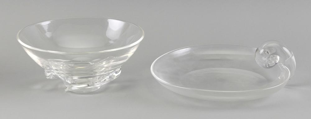 STEUBEN GLASS BOWL AND A GLASS CANDY DISH 20th Century Bowl height 4