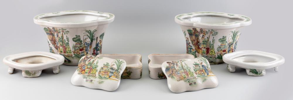FOUR PIECES OF POTTERY BY ORIENTAL ACCENT Second Half of the 20th Century Box heights 2.5