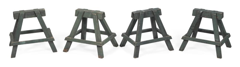 "SET OF FOUR SMALL SAWHORSES America, Early to Mid-20th Century Heights 16.25"". Widths 14.75"". Depths 13""."