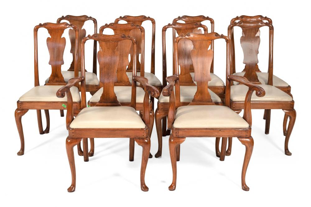 "SET OF TEN QUEEN ANNE-STYLE CHAIRS Late 19th Century Back heights 38.5"". Seat heights 19""."