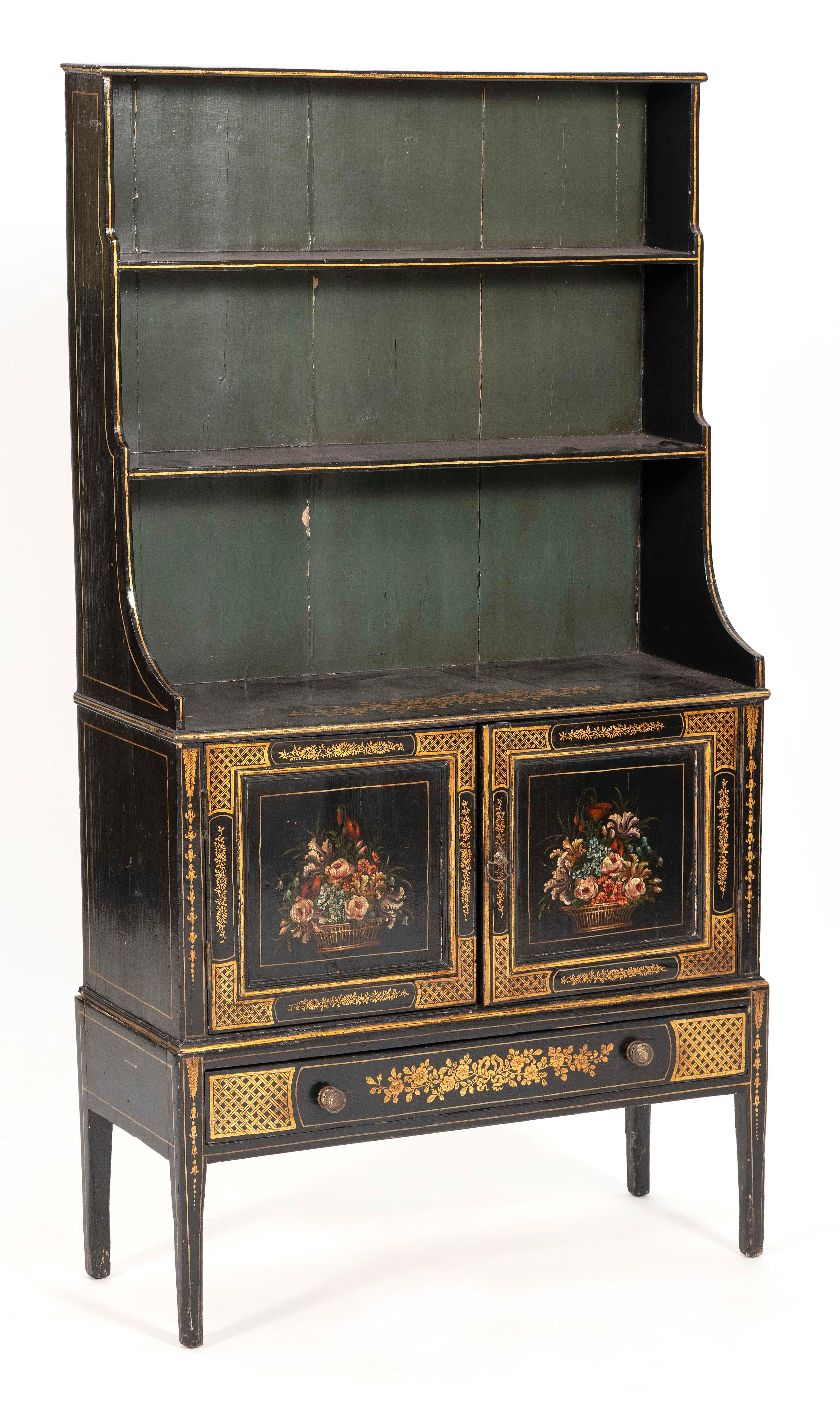 """ENGLISH STEP-BACK CABINET 19th Century Height 54"""". Width 30.5"""". Depth 11.5""""."""