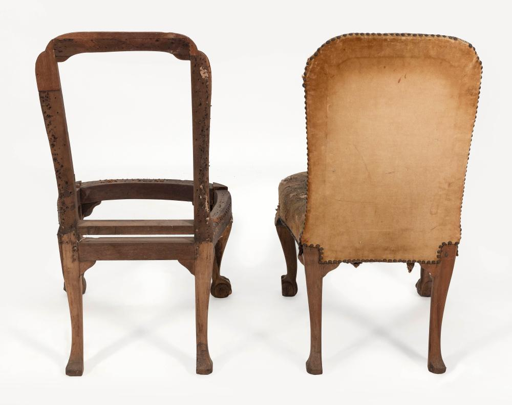 PAIR OF ENGLISH BACK STOOL CHAIRS 18th Century Back heights 42