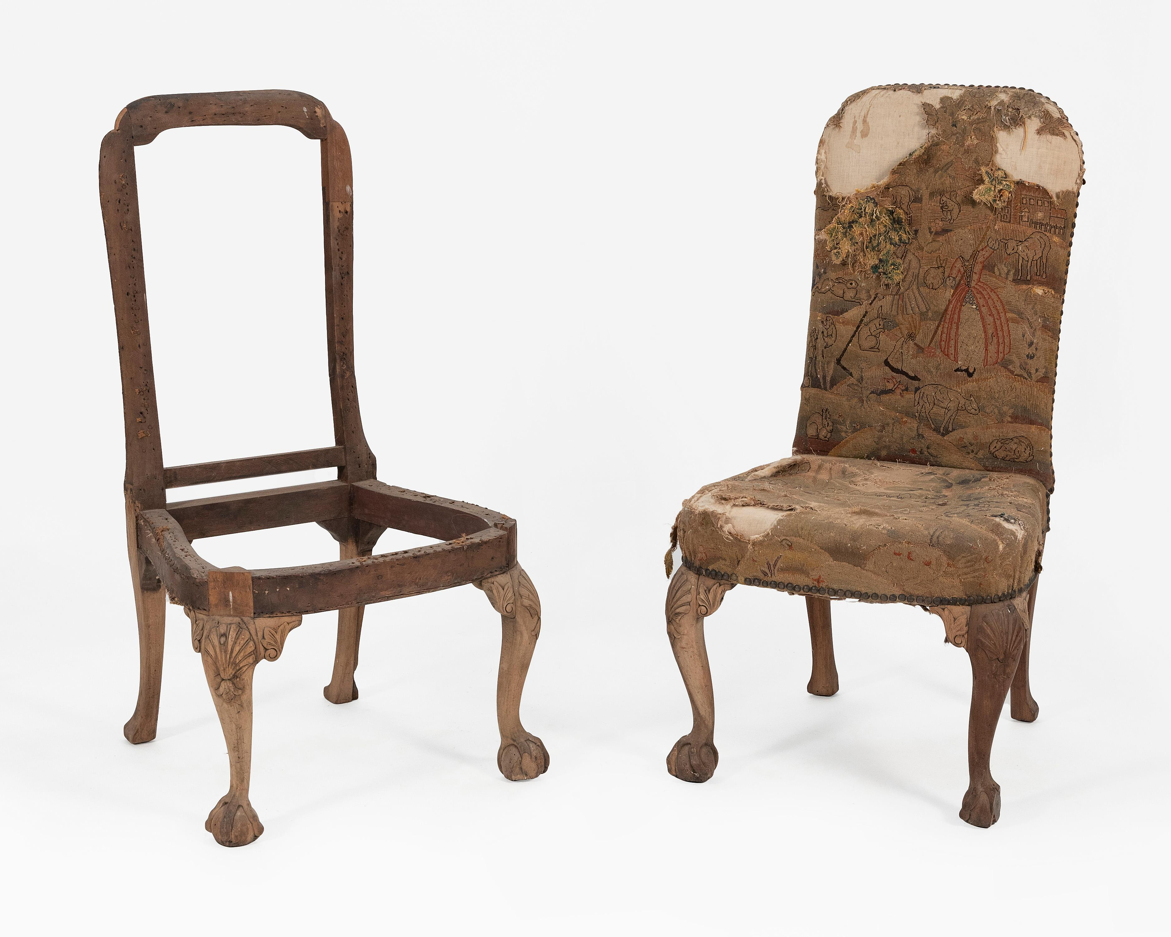 """PAIR OF ENGLISH BACK STOOL CHAIRS 18th Century Back heights 42"""". Seat heights 18.5""""."""