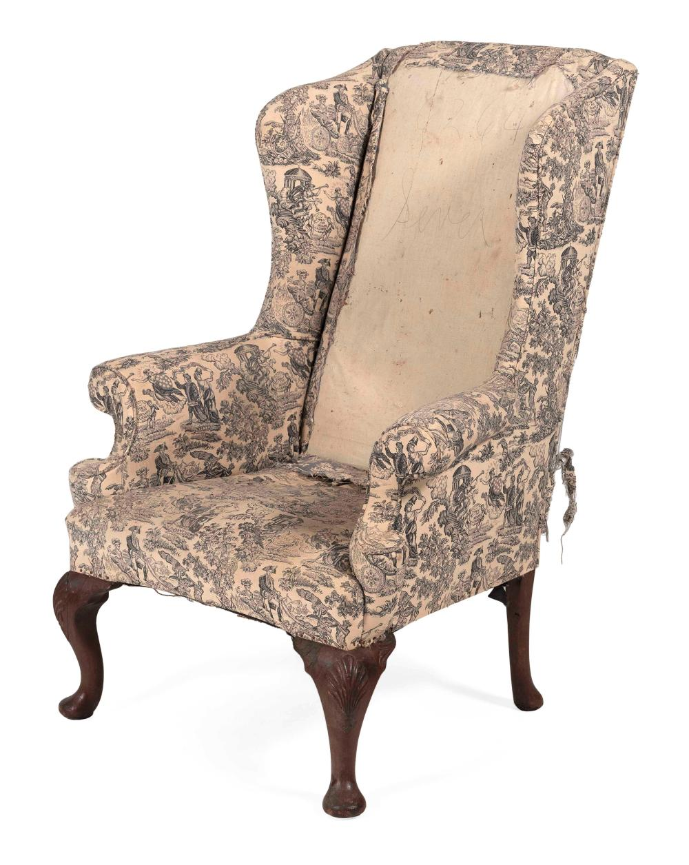 """ENGLISH GEORGE II WING CHAIR 18th Century Back height 47.5"""". Seat height 17""""."""