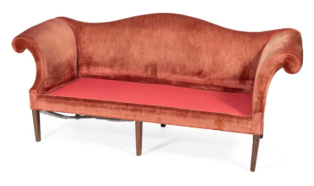"CHIPPENDALE CAMELBACK SOFA Boston, Circa 1780 Back height 37.5"". Seat height 16"". Length 82.5"". Depth 30""."