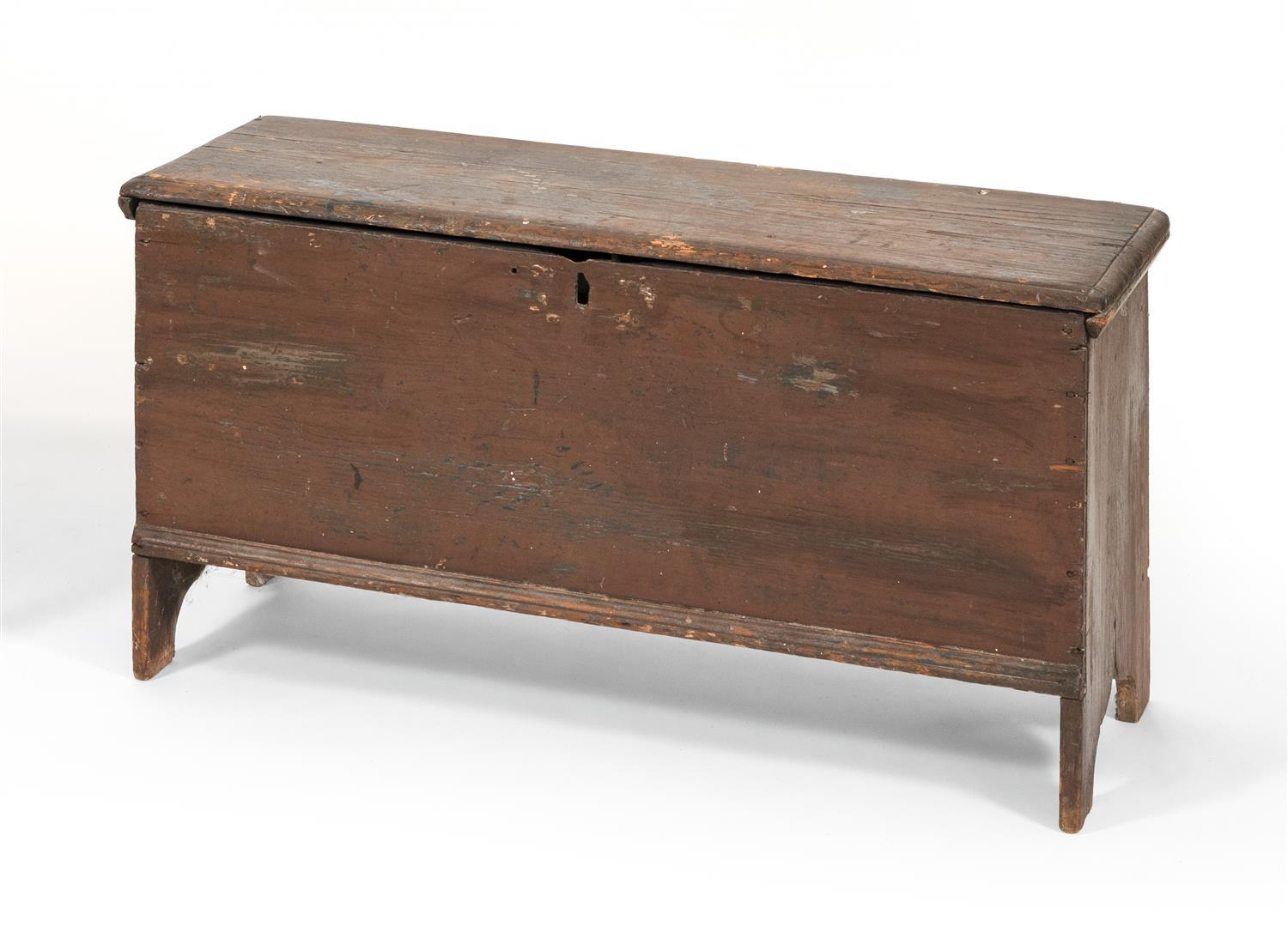 "SIX-BOARD BLANKET CHEST America, Early 18th Century Height 19.75"". Width 39"". Depth 14.5""."
