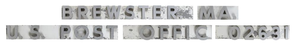 """VINTAGE POST OFFICE SIGN FROM BREWSTER, MASSACHUSETTS Circa 1963 Letters are 6"""" - 6.25"""" tall."""