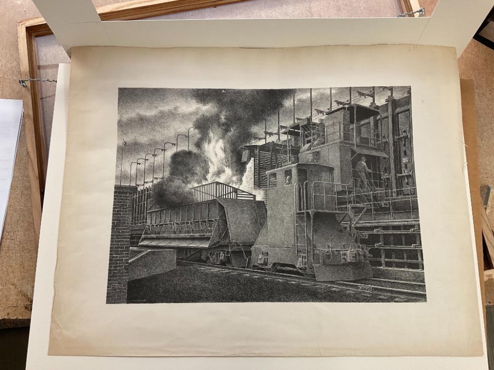 "JACKSON LEE NESBITT (Missouri/Oklahoma, 1913-2008), ""Pushing Coke - Sheffield Steel Mill""., Lithograph, 11.25"" x 15.5"" to tithe plate lines. Framed 19.25"" x 23.25"". Paper size is 16"" x 20.75""."