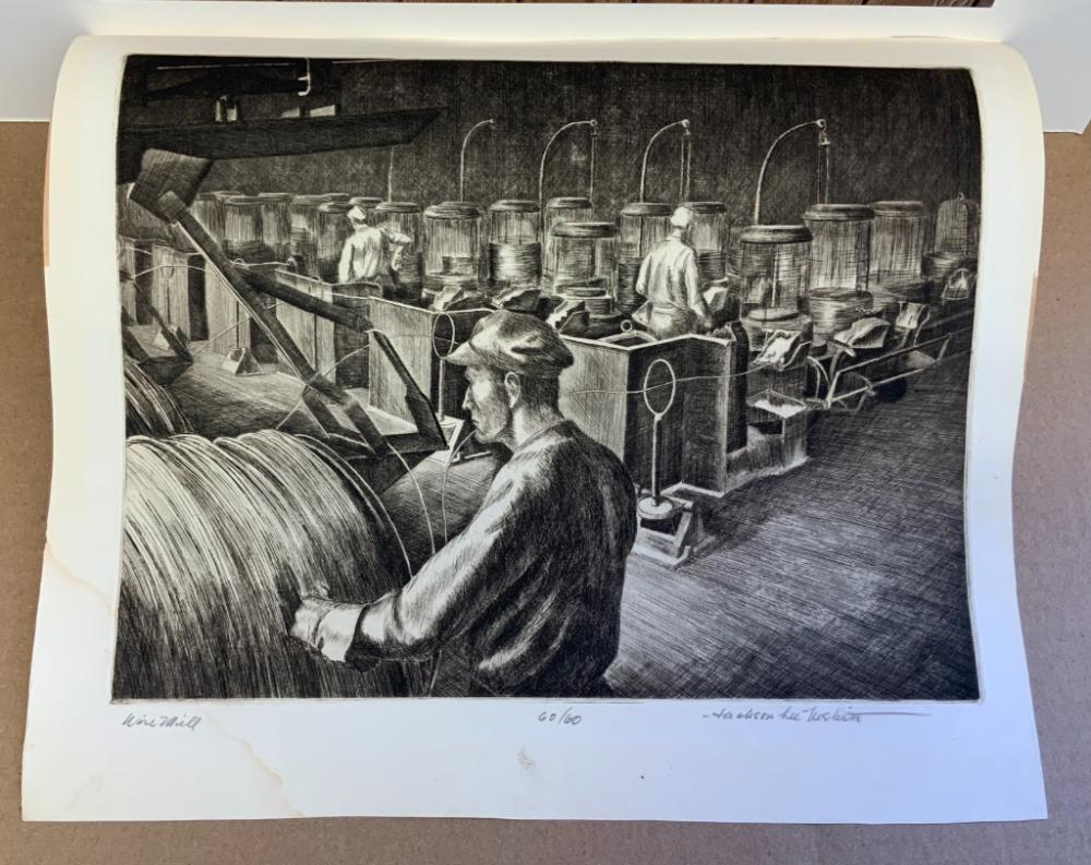 """JACKSON LEE NESBITT (Missouri/Oklahoma, 1913-2008), Two industrial scenes: """"Hot Metal"""" and """"Wire Mill""""., Dry point etchings, 9"""" x 11.75"""" to the plate lines. Framed 15.25"""