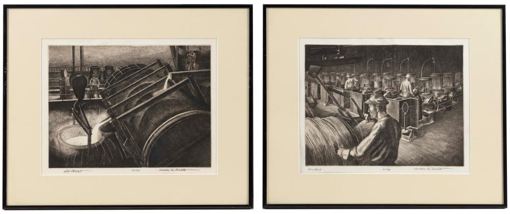 """JACKSON LEE NESBITT (Missouri/Oklahoma, 1913-2008), Two industrial scenes: """"Hot Metal"""" and """"Wire Mill""""., Dry point etchings, 9"""" x 11.75"""" to the plate lines. Framed 15.25"""" x 18.25"""". Paper size 11.5"""" x 13.5""""."""