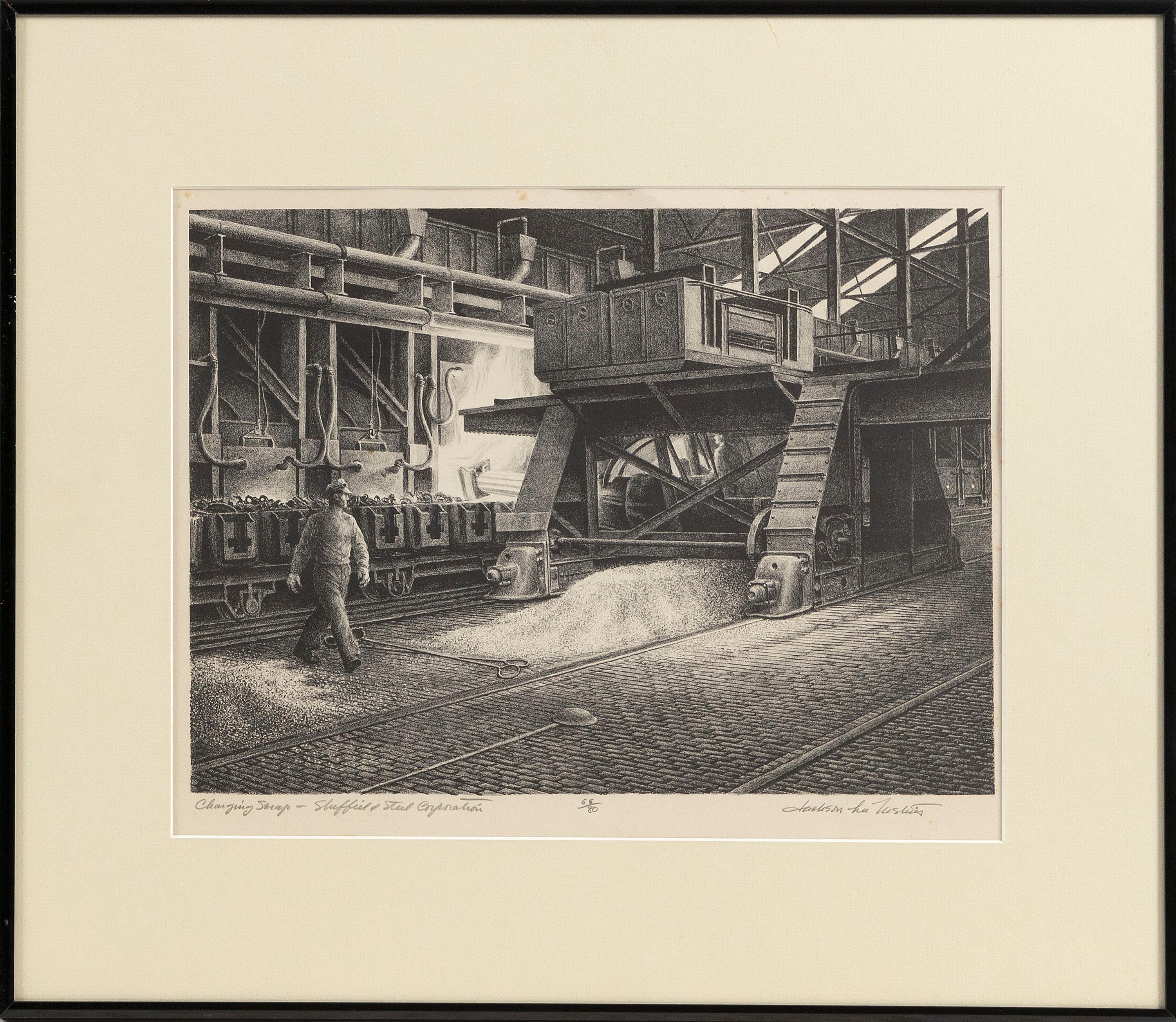 "JACKSON LEE NESBITT (Missouri/Oklahoma, 1913-2008), ""Charging Scrap - Sheffield Steel Corporation""., Lithograph, 9.75"" x 13.75"" to the plate line. Framed 17"" x 20"". Paper size 14.5"" x 19.5""."