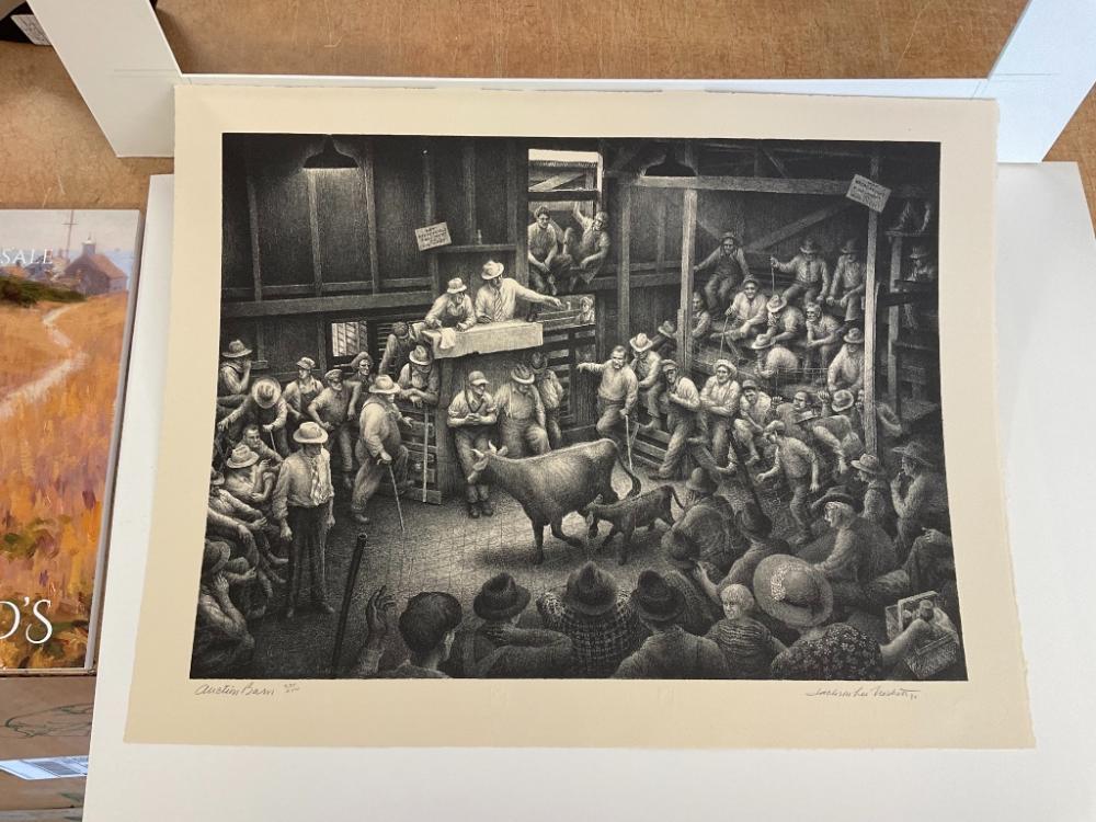"JACKSON LEE NESBITT (Missouri/Oklahoma, 1913-2008), ""Auction Barn""., Lithograph, 12.5"" x 17"" to the plate line. Framed 20"" x 24"". Paper size 15"" x 19.5""."