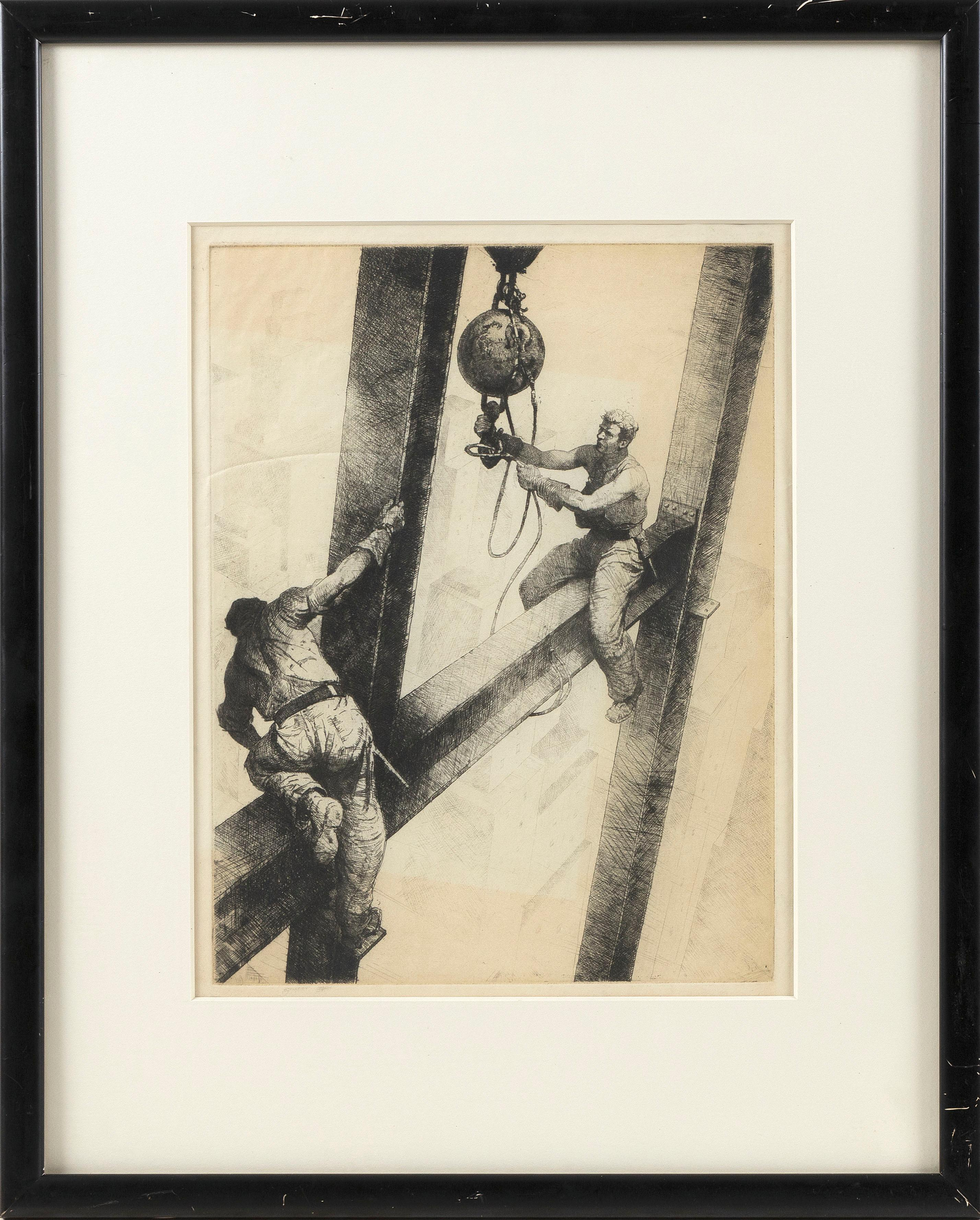 """JAMES EDMUND ALLEN (New York/Louisiana, 1894-1964), """"The Connectors""""., Dry point etching, 12.5"""" x 9.75"""" to the plate line. Framed 21"""" x 17"""". Paper size 15.5"""" x 11.5""""."""