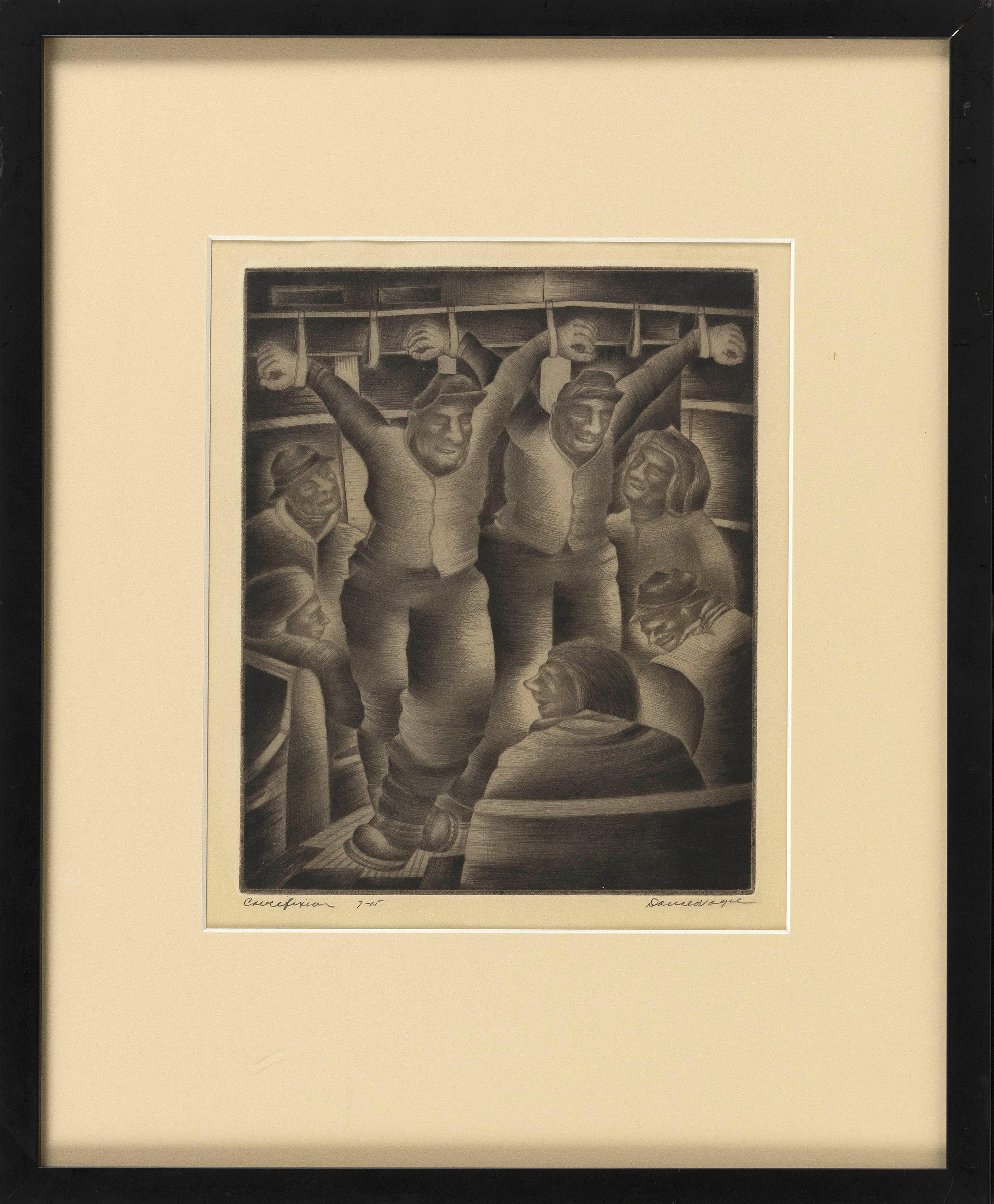 """DONALD VOGEL (New York/Poland, 1902-), """"Crucifixion""""., Dry point etching, 11"""" x 8.75"""" to the plate line. Framed 21.25"""" x 17.25"""". Paper size 14.25"""" x 11.125""""."""