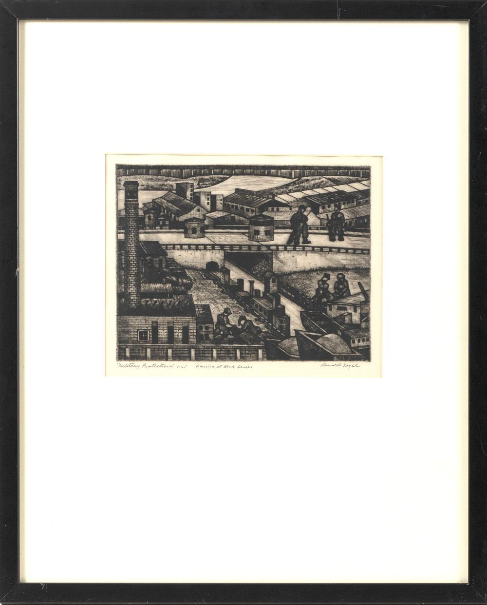 """DONALD VOGEL (New York/Poland, 1902-), """"Military Protection"""", Dry point etching, 8.75"""" x 6.75"""" to the plate line. Framed 21"""" x 17"""". Paper size 9.25"""" x 11.25""""."""