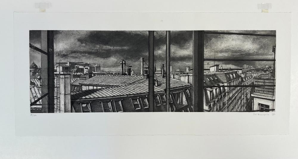 """ERIK DESMAZIERES (France, b. 1948), """"Les Toits de la Rue Livingstone""""., Etching, 5.75"""" x 17.25"""" to the plate line. Framed 13.25"""" x 24.25"""". Paper size 8.75"""" x 19.5""""."""