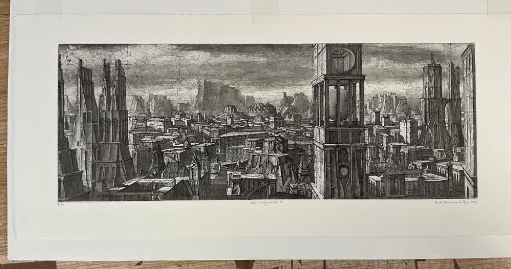 """ERIK DESMAZIERES (France, b. 1948), Two etchings: """"Ville Rocheuse"""" and """"Ville Imaginaire""""., Both 7"""" x 18.5"""" to the plate line. Framed 12.25"""" x 23.25"""". Paper size 9.75"""" x 22.5""""."""