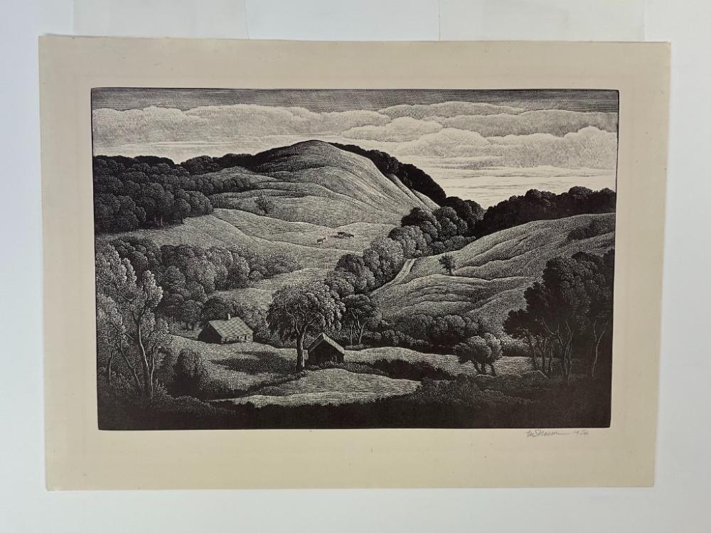 """THOMAS NASON (Massachusetts/Connecticut, 1889-1971), """"Midsummer""""., Wood engraving, 6"""" x 9"""" to the plate line. Framed 15.5"""" x 19.5"""". Paper size 7.75"""" x 10.75""""."""