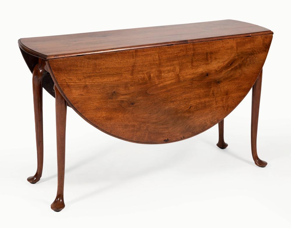 "GEORGIAN DROP-LEAF TABLE Mid-18th Century Height 29"". Length 18"" plus two 19"" drop leaves. Width 56""."