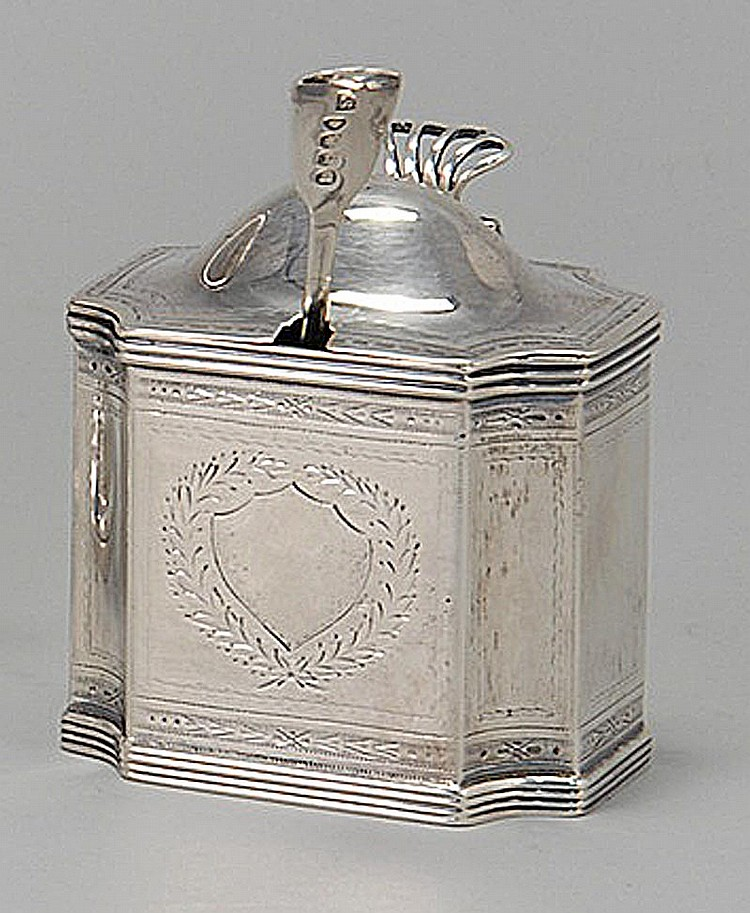 ENGLISH SILVER MUSTARD POT BY THE BATEMAN FAMILY Together with 19th Century mustard spoon. Pot with chased laurel leaf decoration an...