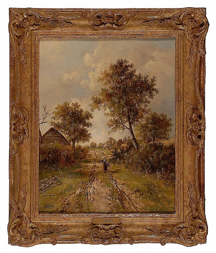 JOSEPH THORS, British, c. 1843-1898, A woman gathering sticks, Oil on canvas, 15