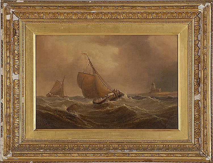 HENRY MOORE, English, 1831-1895, Two vessels battling stormy seas off a lighthouse., Oil on canvas, 10