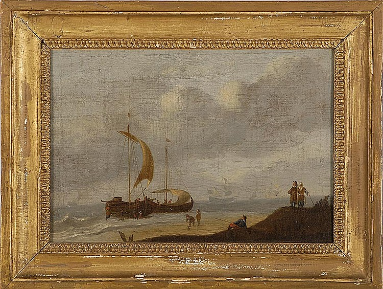 FRAMED PAINTING Dutch marine view. Unsigned. Inscribed in pencil on stretcher