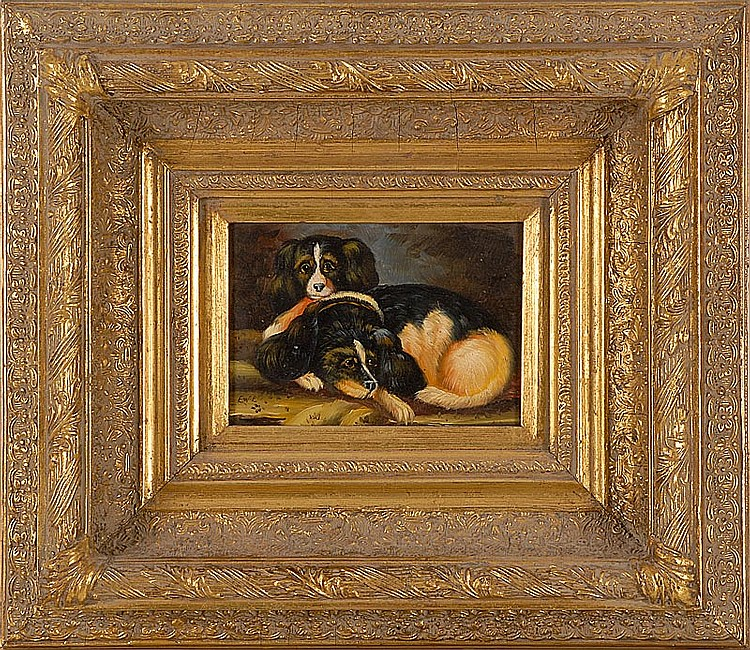 CONTINENTAL SCHOOL, Late 19th Century, Portrait of two spaniels., Oil on panel, 4½
