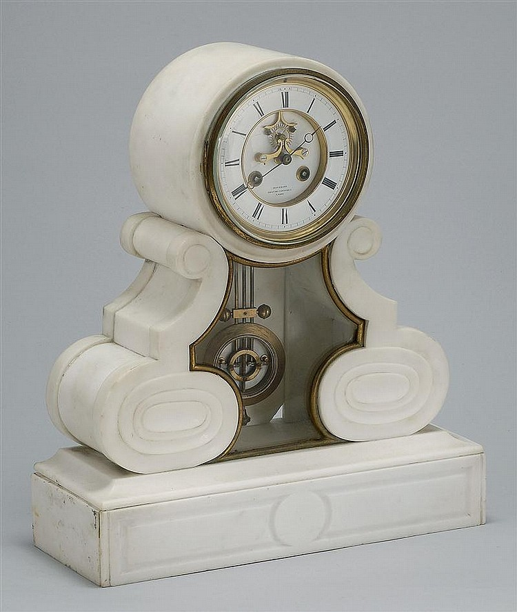 ANTIQUE FRENCH EMPIRE MARBLE MANTEL CLOCK Face marked