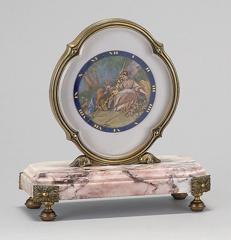 SWISS DESK CLOCK BY ATELIERS JUVENIA Face decorated with a Watteau-style figural landscape. Pink marble and ormolu base. Height 7