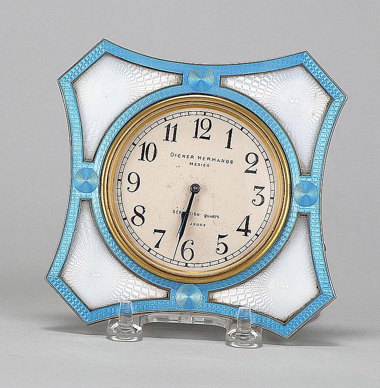 FRENCH GUILLOCHÉ ENAMEL DESK CLOCK Made for Diener Hermanos, Mexico. Quarter-hour repeater movement. Height 5