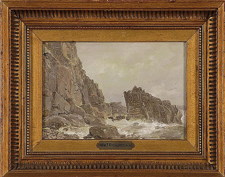 """WILLIAM TROST RICHARDS, American, 1833-1905, """"Clovelly"""", depicting rough seas crashing upon a rocky coast., Oil on panel, 5"""" x 7"""". F..."""