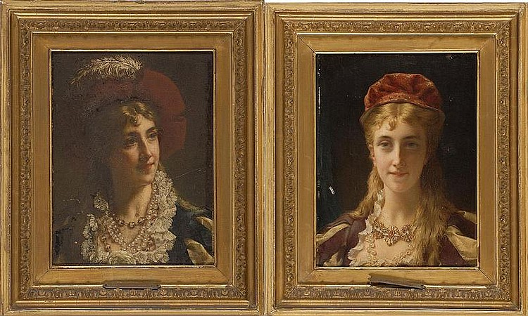 JAN FREDERIK PIETER PORTIELJE, Dutch, 1829-1908, Two portaits of ladies., Oils on panel, 11½