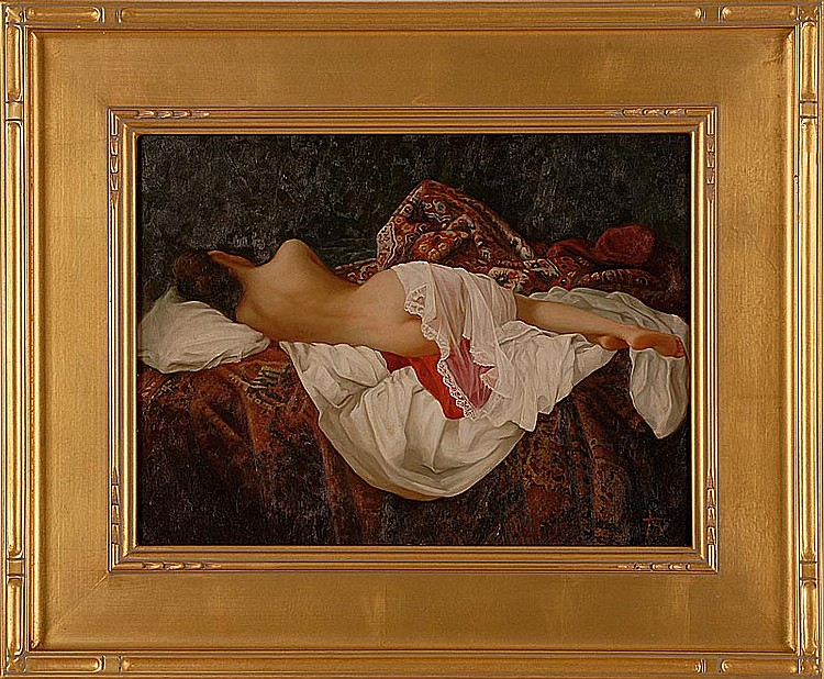 FRAMED PAINTING A reclining female nude partially covered by lace. Monogrammed lower right