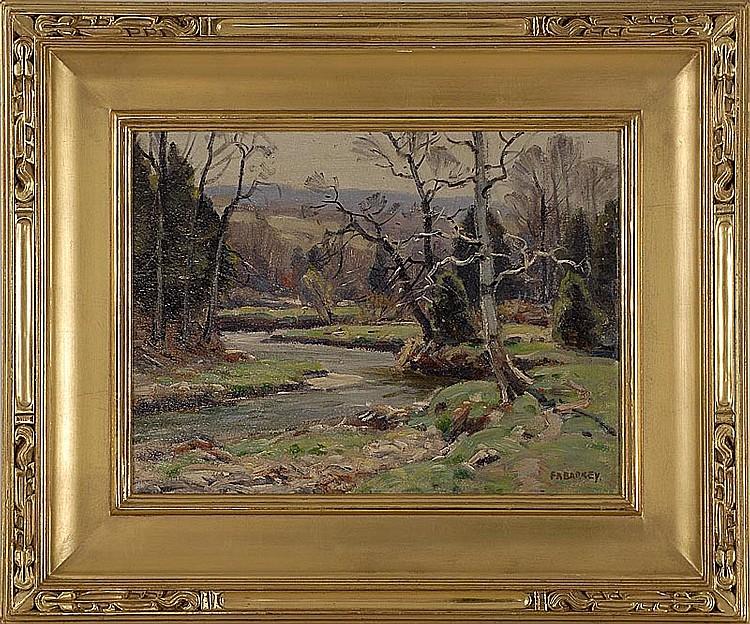 "FRANK A. BARNEY, American, 1862-1954, ""Early Spring""., Oil on board, 12"" x 16"". Framed."